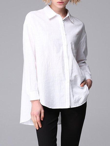 Plain Asymmetric Shirt Collar Long Sleeve Casual Blouse