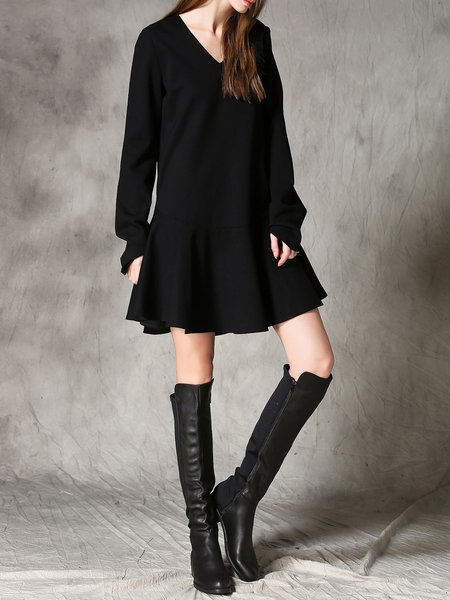 Long Sleeve Pockets Casual Flounce Mini Dress