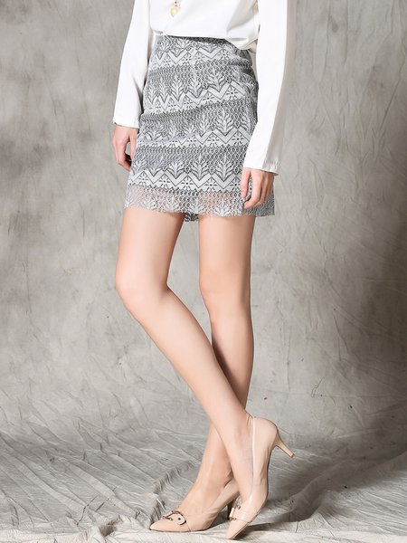 Gray Girly Lace A-line Mini Skirt