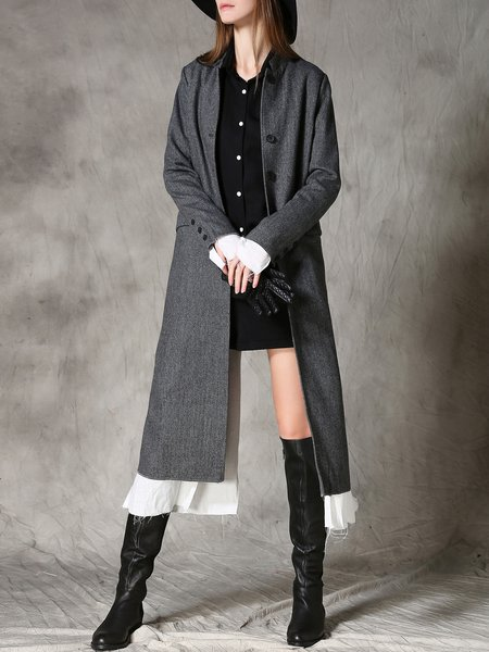 Gray Buttoned Plain Stand Collar Long Sleeve Coat