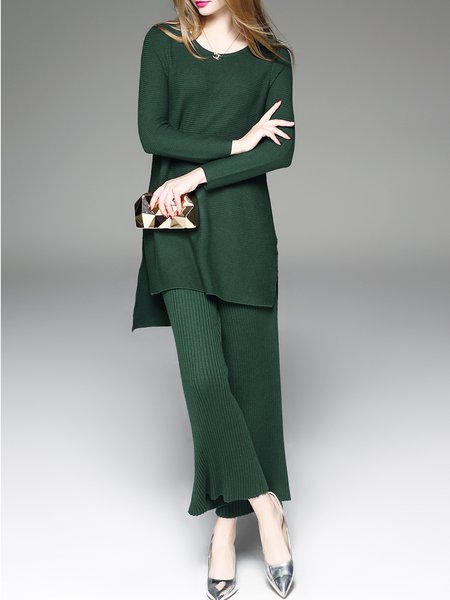 Plain Casual Pleated Two Piece Long Sleeve Jumpsuit