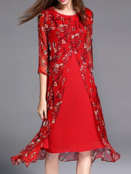 Vintage Floral-print 3/4 Sleeve Midi Dress