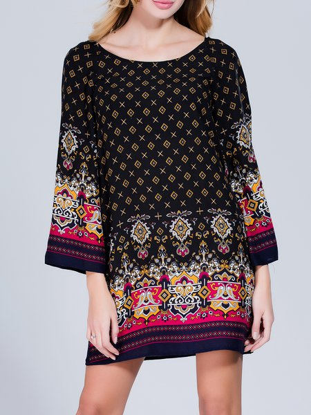 Multicolor Tribal Casual Printed Mini Dress