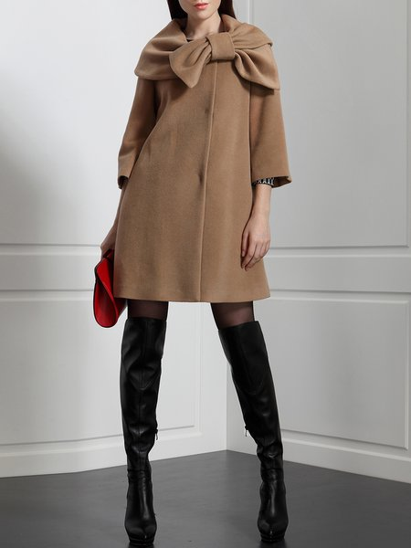 Camel Bow Wool Buttoned Plain Simple Coat