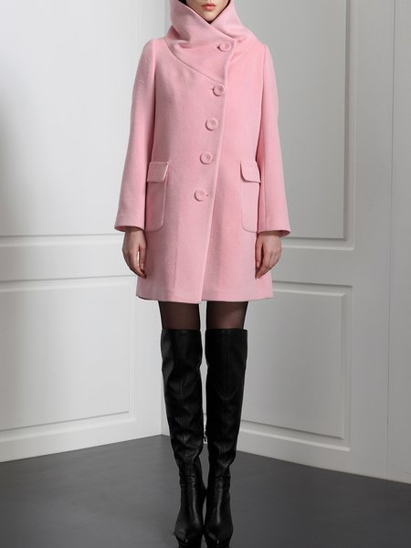 A-line Polyester Simple Buttoned Long Sleeve Coat