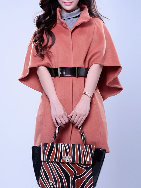 Simple Wool Buttoned Plain Poncho And Cape With Belt