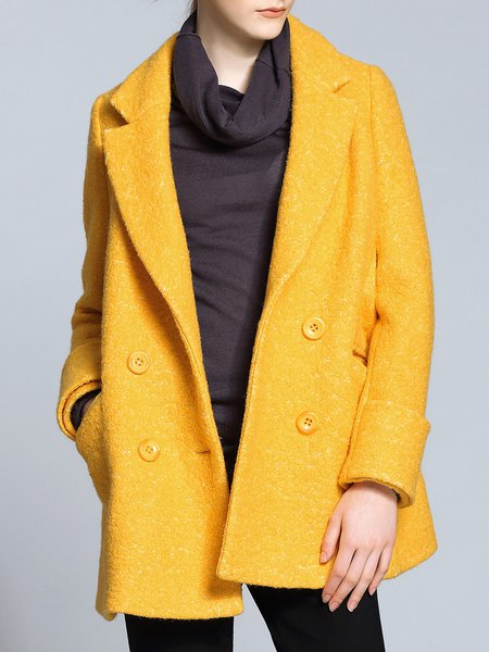 Yellow Plain Lapel A-line Long Sleeve Coat