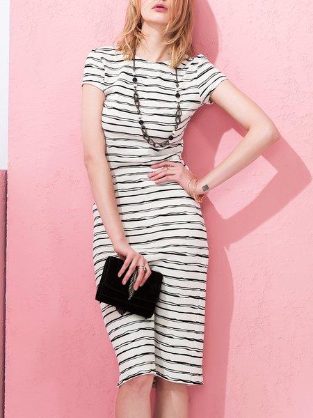 White Cutout Polyester Elegant Stripes Sheath Midi Dress