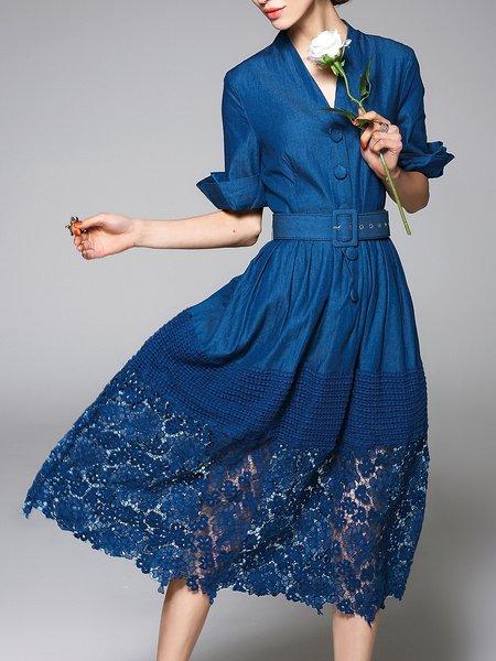 Dark Blue A-line Paneled Half Sleeve Midi Dress
