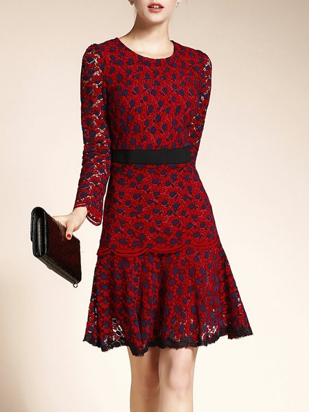 Red Guipure Elegant Floral Long Sleeve Midi Dress