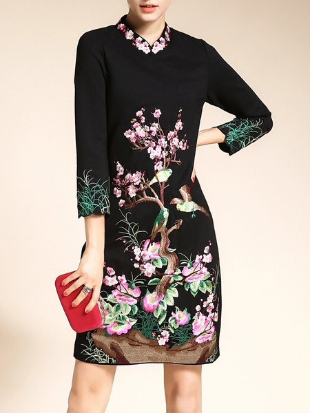 Floral Embroidered  Long Sleeve Midi Dress