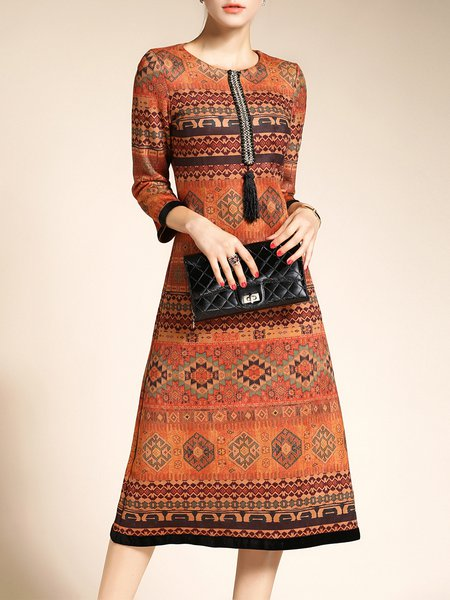 Camel Vintage Printed A-line Midi Dress