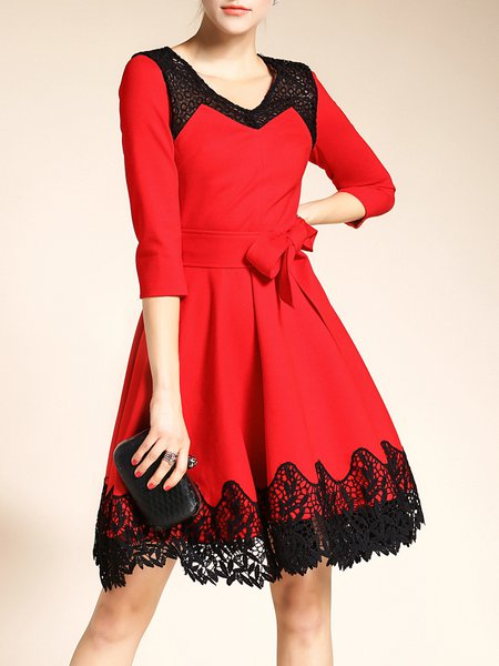 Red Guipure 3/4 Sleeve A-line Midi Dress