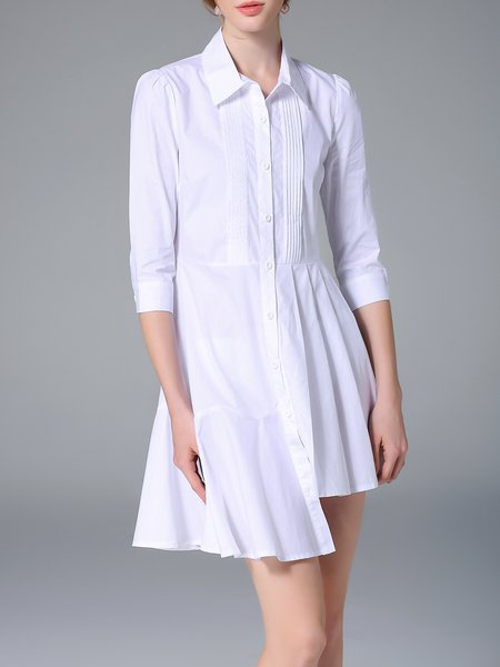 Long Sleeve Cotton High Low Solid Simple Shirt Dress