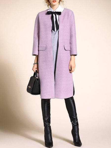 Long Sleeve Wool H-line Pockets Simple Coat