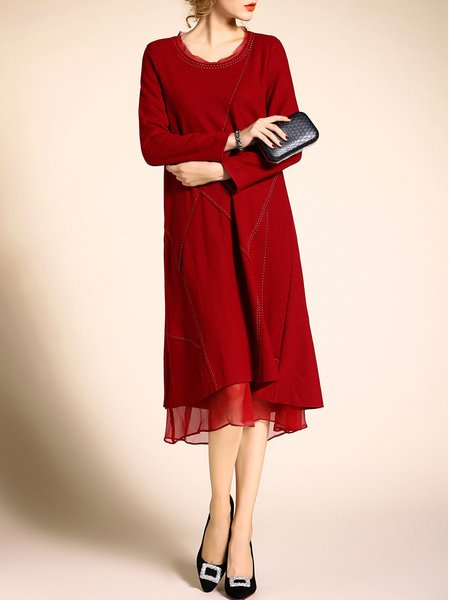 Long Sleeve Plain Ruffled Simple Wool Midi Dress