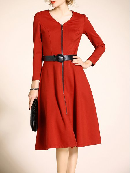 Red Cotton Long Sleeve Zipper Sweetheart Plain Midi Dress