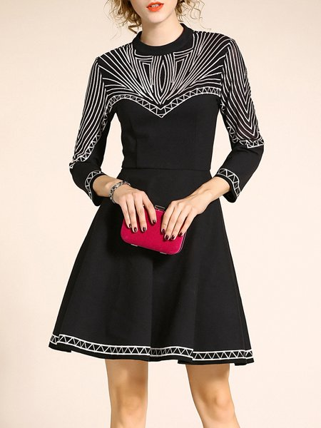 3/4 Sleeve Geometric Binding Casual Midi Dress