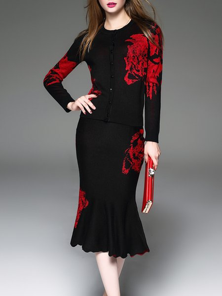 Abstract Knitted Long Sleeve Elegant Two Piece Midi Dress