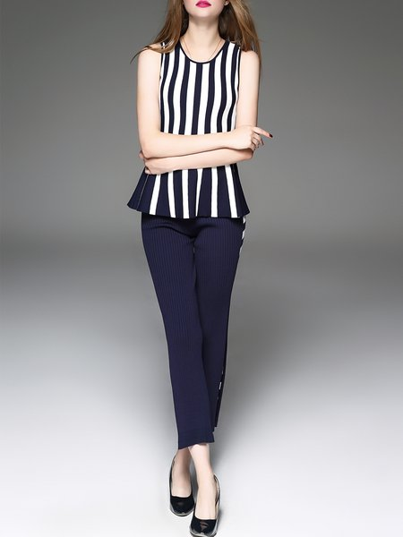 Navy Blue Two Piece Stripes Viscose Elegant Jumpsuit