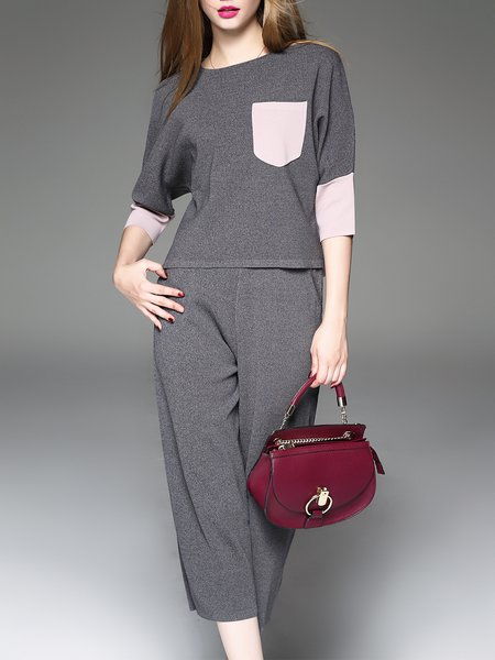 Gray Two Piece Crew Neck Paneled 3/4 Sleeve Jumpsuit