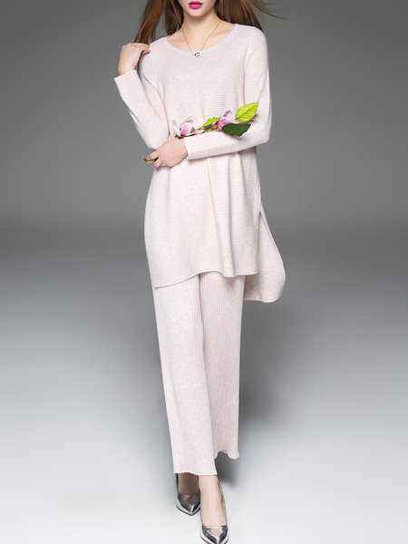 Crew Neck Two Piece Wool Blend Casual Long Sleeve Jumpsuit