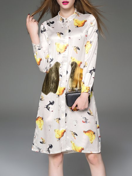 Golden Casual Silk Printed Shirt Dress