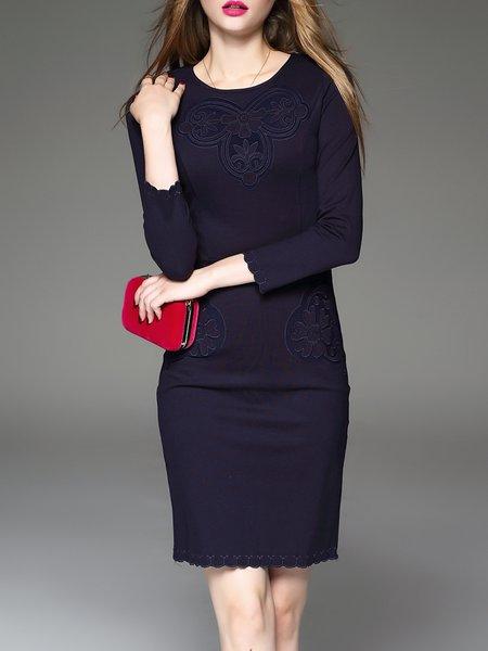 Silk Sheath Embroidered Elegant Long Sleeve Midi Dress