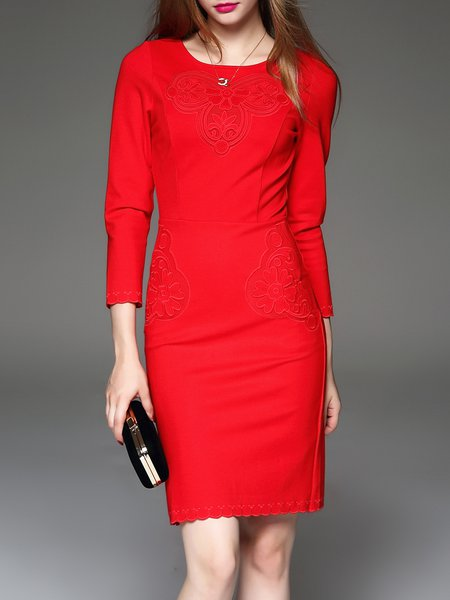 Silk Long Sleeve Elegant Embroidered Midi Dress