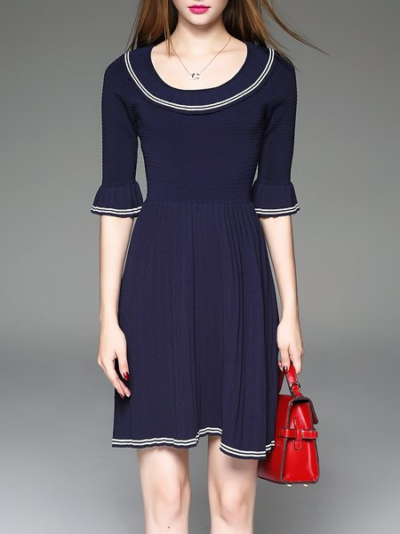 Navy Blue Crew Neck Frill Sleeve Knitted Sweater Dress