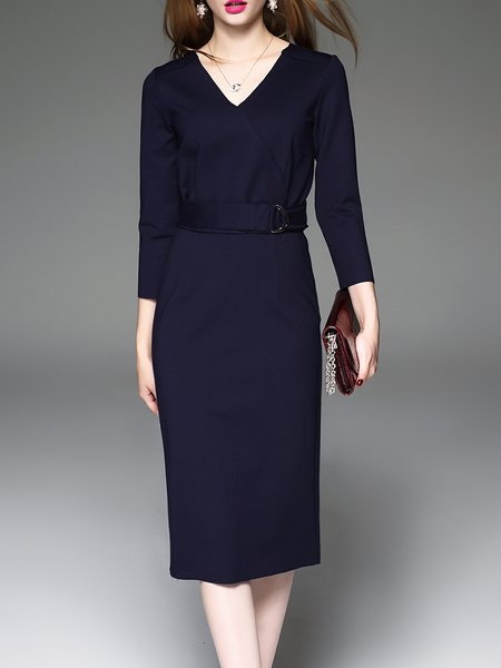 Navy Blue Plain Elegant Wrap Dress