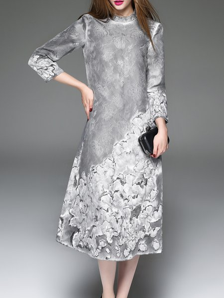 Gray H-line Elegant Midi Dress