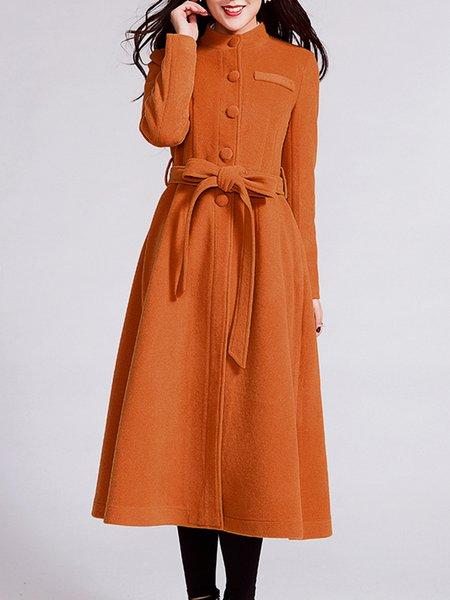 Camel A-line Wool Blend Elegant Coat