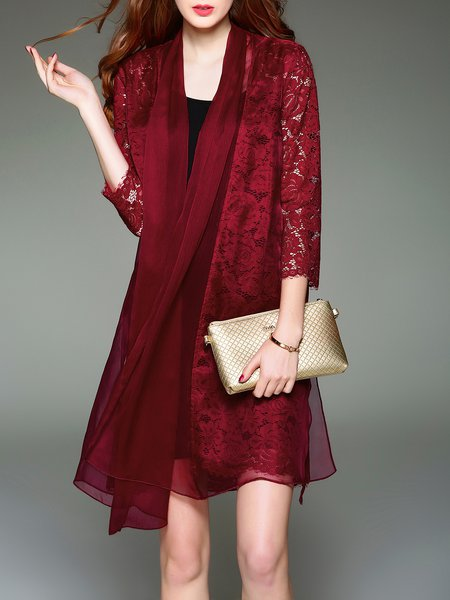 Floral Silk Guipure Lace Casual Coat