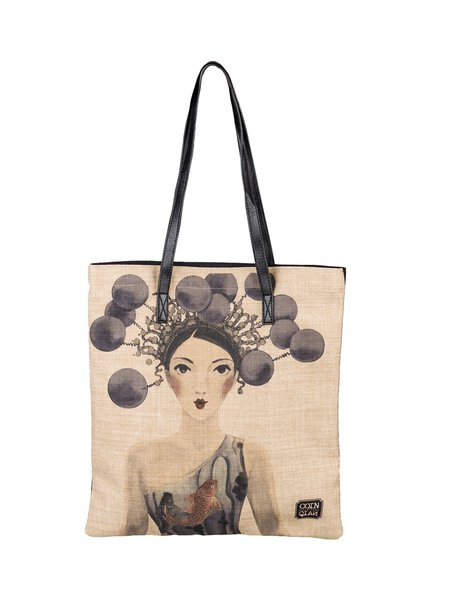 Large Khaki Casual Open-top Shoulder Bag