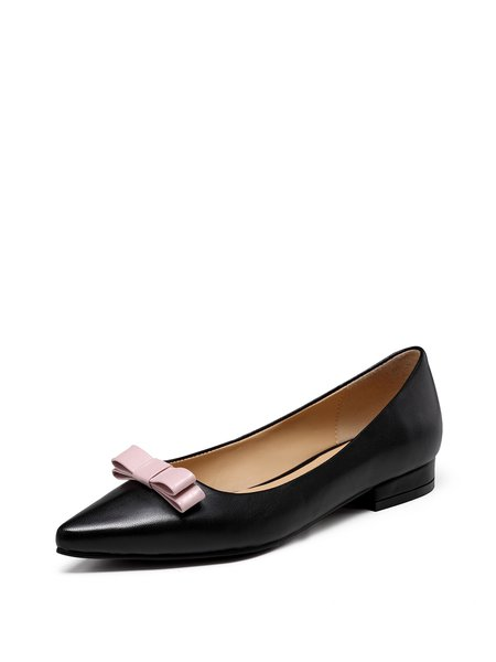 Black Casual Bowknot Leather Ballerina Flats
