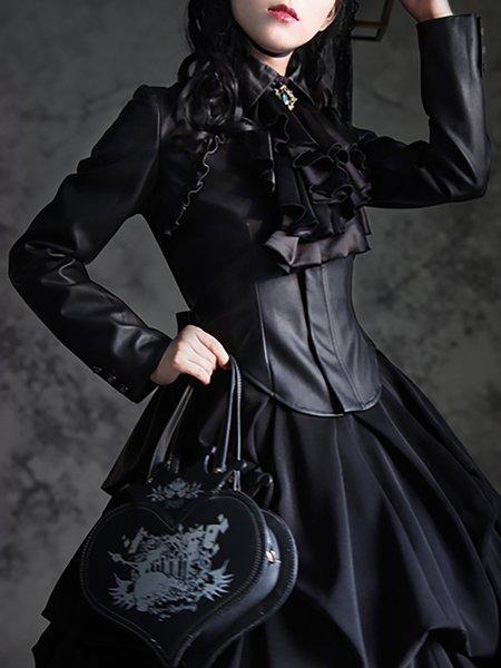 Black Asymmetric Long Sleeve PU Vintage Cropped Jacket