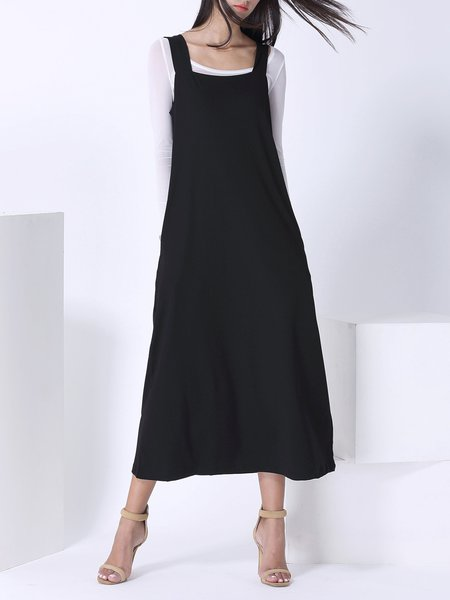 Black Two Piece Long Sleeve Polyester Midi Dress