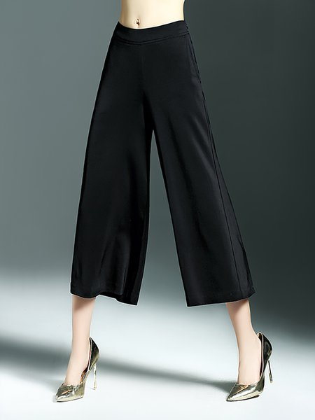 Black H-line Casual Polyester Wide Leg Pants