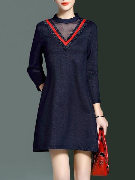 Deep Blue 3/4 Sleeve Stand Collar Pockets  Mini Dress