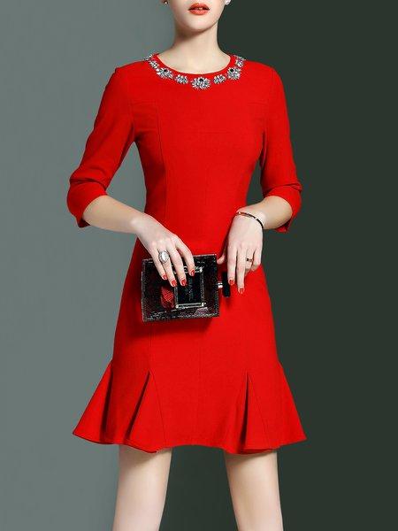 A-line Girly Polyester Half Sleeve Beaded Mini Dress