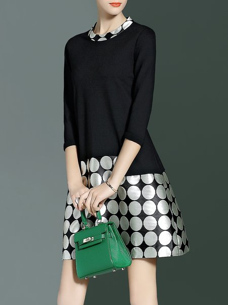 Black Polka Dots Crew Neck A-line Elegant Mini Dress