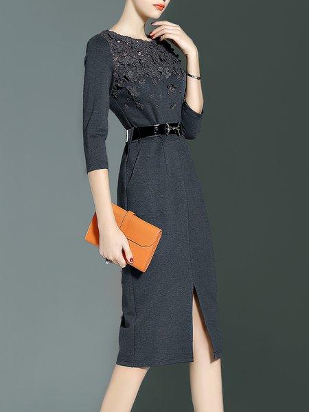 Gray Appliqued Plain Cotton-blend 3/4 Sleeve Midi Dress With Belt