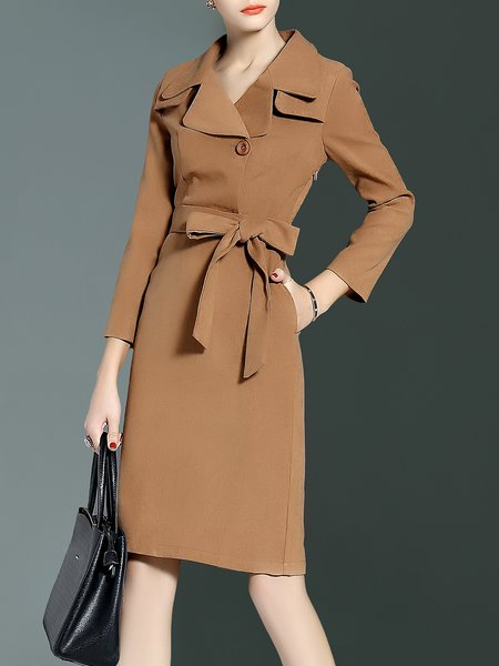 Dark Green Lapel A-line Elegant Buttoned Midi Dress With Belt