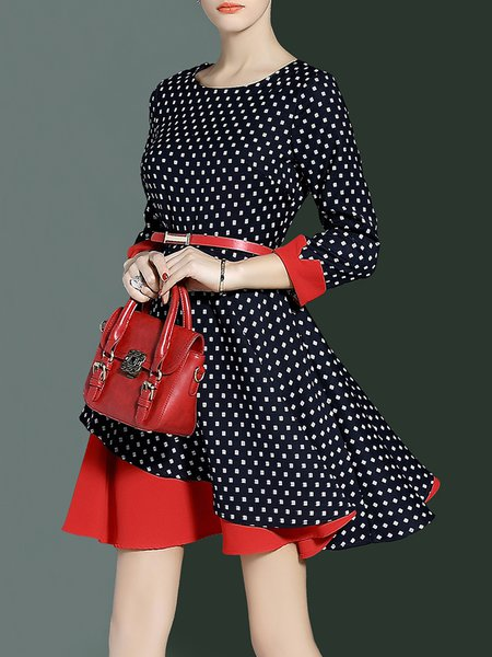 Navy Blue Polka Dots Cotton-blend A-line Elegant Midi Dress With Belt