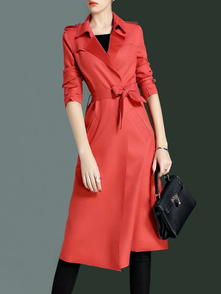 Red Solid Long Sleeve Lapel Slit Coat With Belt
