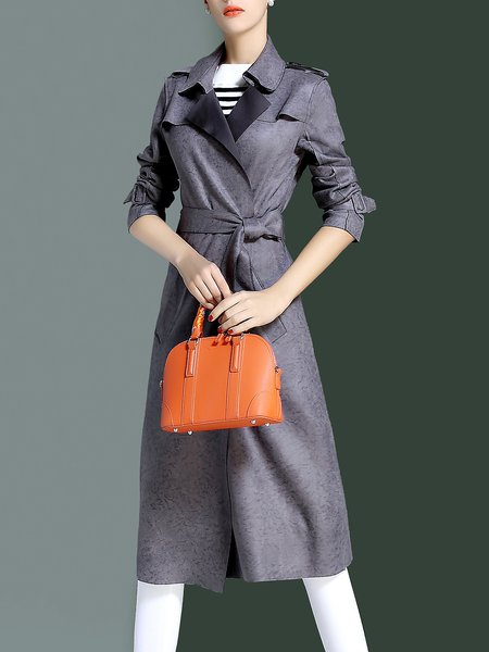 Gray Long Sleeve Solid Elegant Lapel Coat With Belt