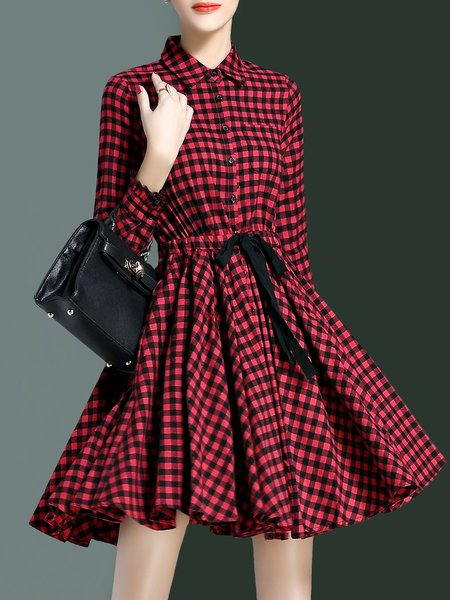 Checkered/Plaid Long Sleeve A-line Cotton Shirt Dress
