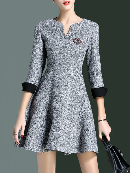 Simple A-line V Neck 3/4 Sleeve Mini Dress
