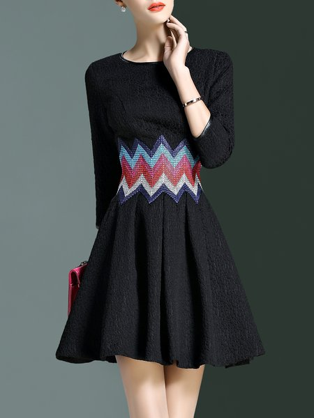 Black Simple Folds A-line Crew Neck Mini Dress